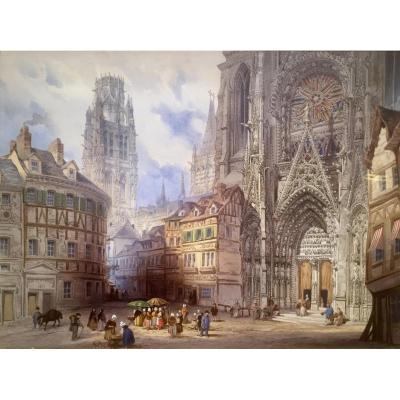 Rouen Vers 1850 Animation Pres De La Cathedrale Non Signe Tableaux Paysages