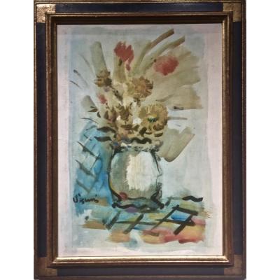 COMPOSITION  de FLEURS - Sylvain VIGNY (1903-1970)
