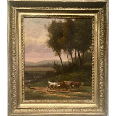 Vaches sur le chemin - XIXème - Non signé