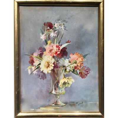 Pierre Gaston RIGAUD (1874-1939)- FLEURS dans vase en verre