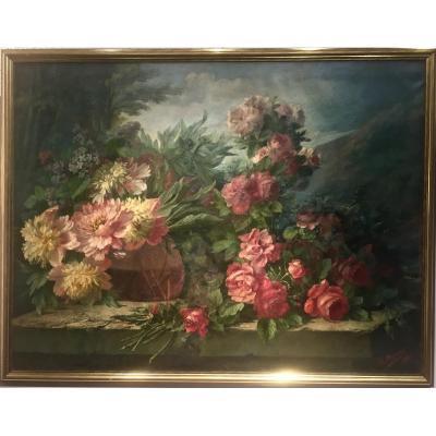 Grand tableau - ROSES, PIVOINES, LILAS - J. MONDON (XIX/XX)
