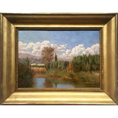 ANSE étang du Colombier - Beaujolais -  Victor BARJON (1845-1920)