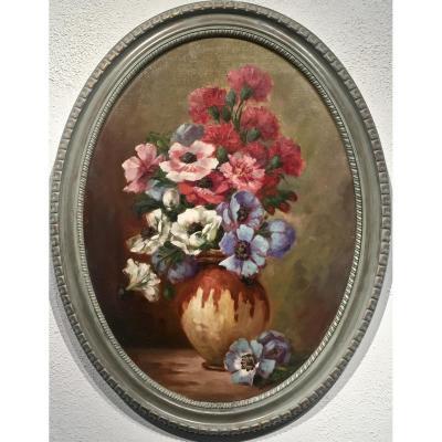 ANEMONES - Bouquet dans un vase - MASCAREY (XIX/XXème)