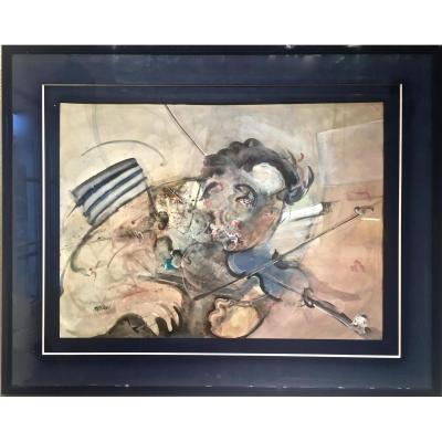 MATEVSKI (né en 1946) - Le VIOLONISTE - Grande aquarelle
