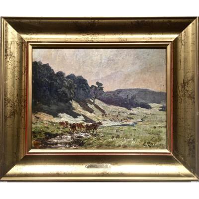 Clovis TERRAIRE (1858-1931) - VACHES s'abreuvant au RUISSEAU