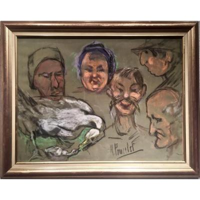 SPECTACLE sur le MARCHE - Maurice Georges PONCELET (1897-1978)