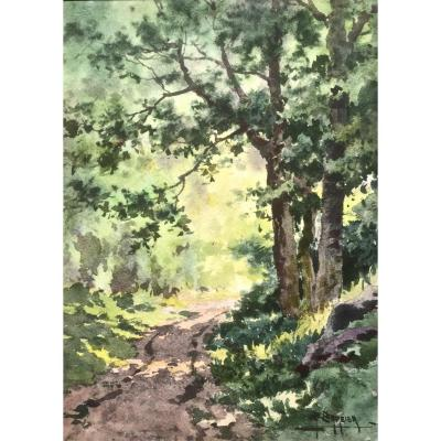 Antoine BARBIER (1859-1948) -  LUBERON - Chemin au PRINTEMPS
