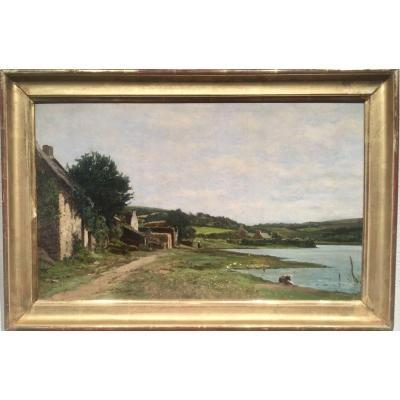 FERMES BRETONNES près d'un étang - XIXème - non signé