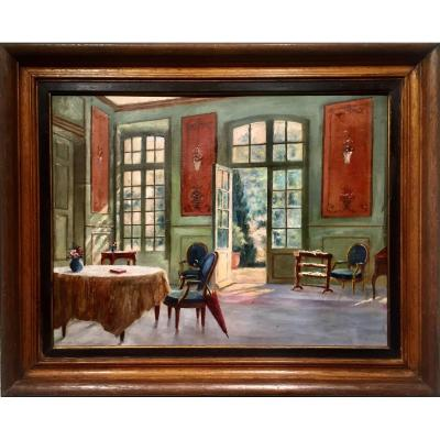 SALON de CHATEAU - Léon  Régis JUNIQUE (1875-1945)