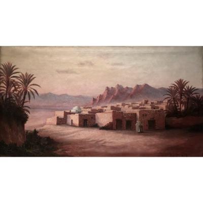 Henri ROCHEVILAIN (XIX/XXème) - PALMERAIE  SAHARIENNE - Grandes dimensions