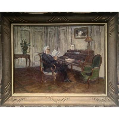 Madeleine BONNEVAY (1898-1993) - LECTURE AU SALON