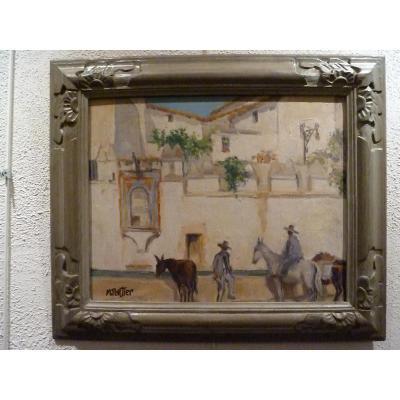 Devant l'abreuvoir de l'hacienda espagnole par Marguerite PORTIER