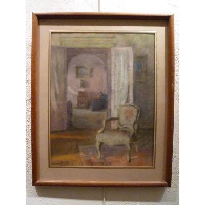 Intérieur d'appartement, au pastel, par LOUIS CHARRAT