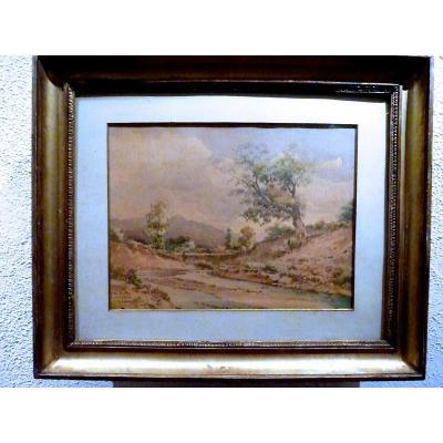 Rivière de montagne, aquarelle de Melchior Jaubert