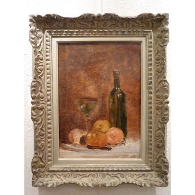 Bouteille, verre, pommes, couteau par Jacques Martin