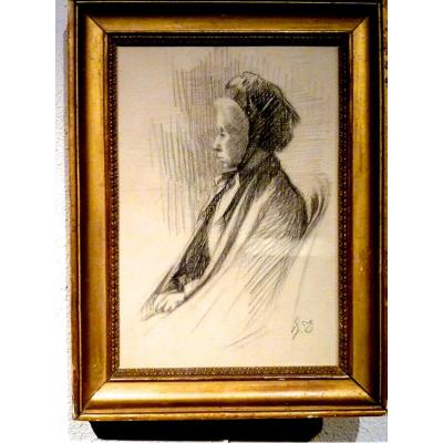 Femme dans un fauteuil dessin XIXème monogrammé J.T