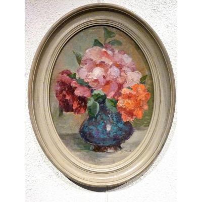 Fleurs au vase bleu de MARGUERITE PORTIER