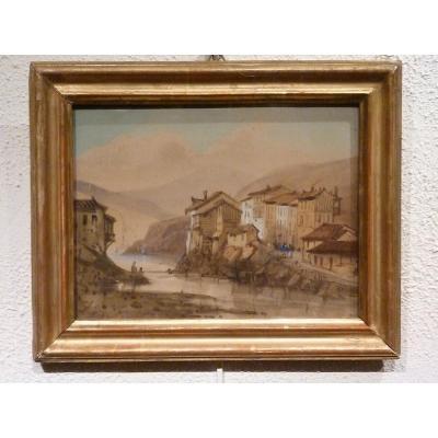 Village au bord du lac - Aquarelle début XIXème