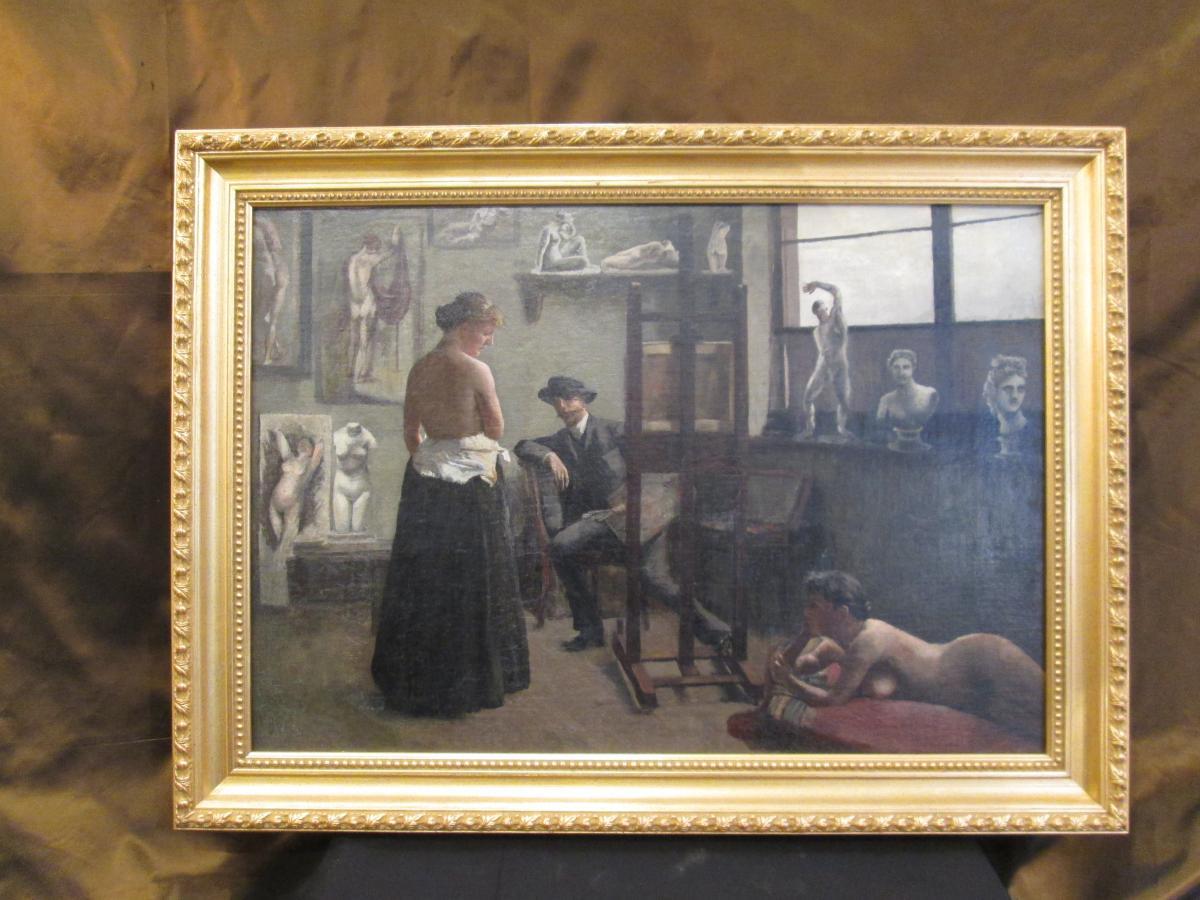 Atelier de peintre XIX Siècle (réentoilé)