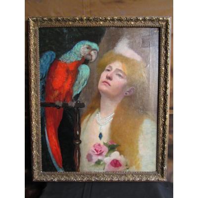 Hst Femme Au Perroquet