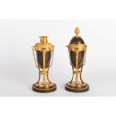 Pair Of Bronze Cassolettes / Candlesticks