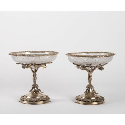 Pair Of English Crystal And Silver Cups
