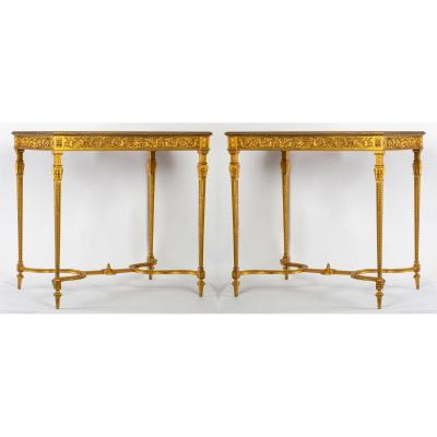 Pair Of Tables In Bronze XIX Millet In Paris