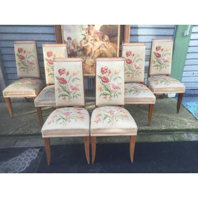 Suite De Six Chaises Art Deco