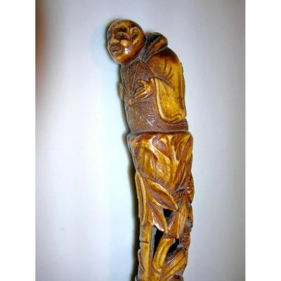 Japonaiserie,canne De Bambou Ornée d'Un Pommeau En Cervidé Sculpté