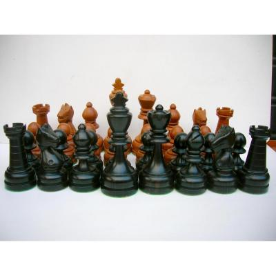 African Chess Game In Ebony And Light Wood
