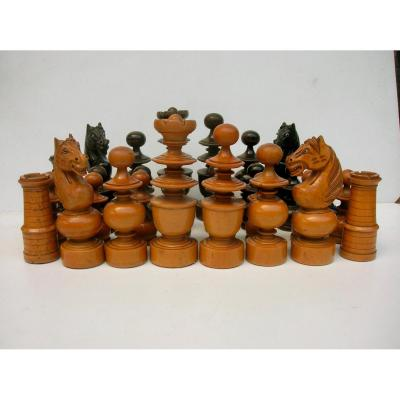 Rare French Chess Set Leaded XIXth
