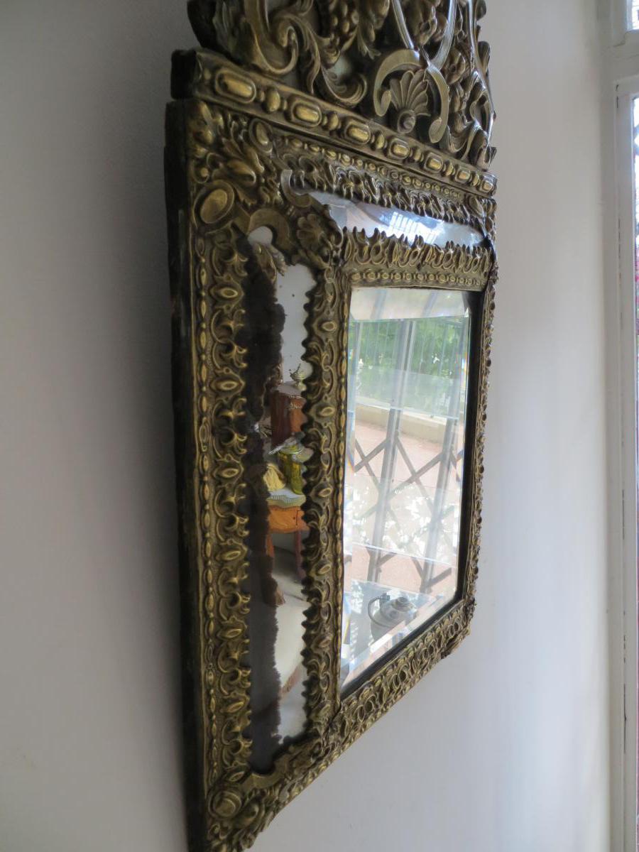 Miroir En Laiton Repoussé-photo-3