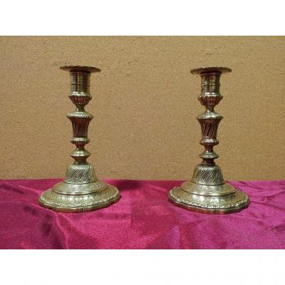 Paire De Bougeoirs En Bronze XVIIIe