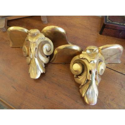 Pair Of Consoles Of Appliques In Golden Wood