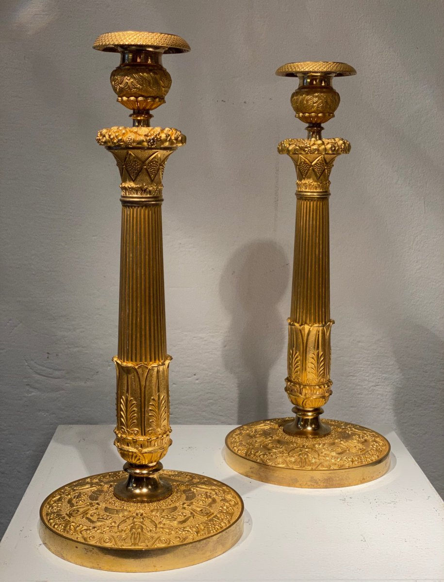 Pair Of Large 1st Empire Candlesticks In Gilt Bronze Early XIX Century