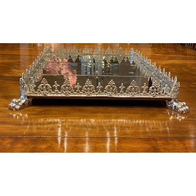 A Large Antique Rectangular Silver Plated Mirrored Plateau Centerpiece.