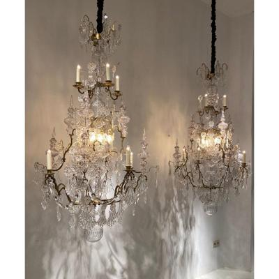 Pair Of  Large Chandeliers, 19th Century