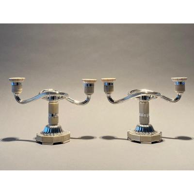 Pair Of Art Deco Silver Candelabra
