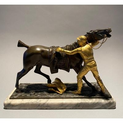 Bronze Jockey And His Horse. Gechter Jean-françois Théodore (1796-1844), Attributed