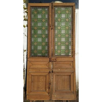 Double Doors With Stained Glass