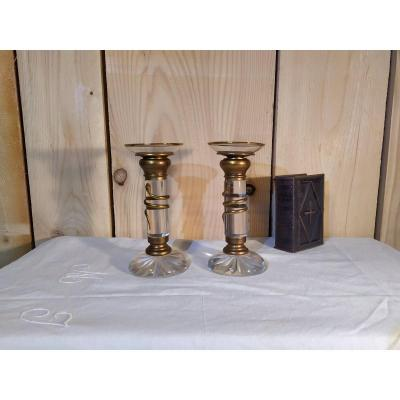 Pair Of Crystal Candlesticks, 19th
