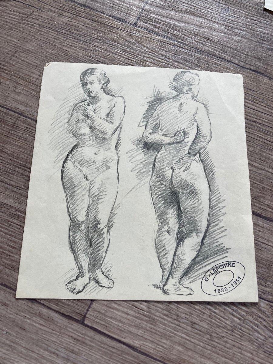Lapchine Georges Peintre Russe Lot De 7 Dessins de nus d'atelier Vers 1930-photo-1