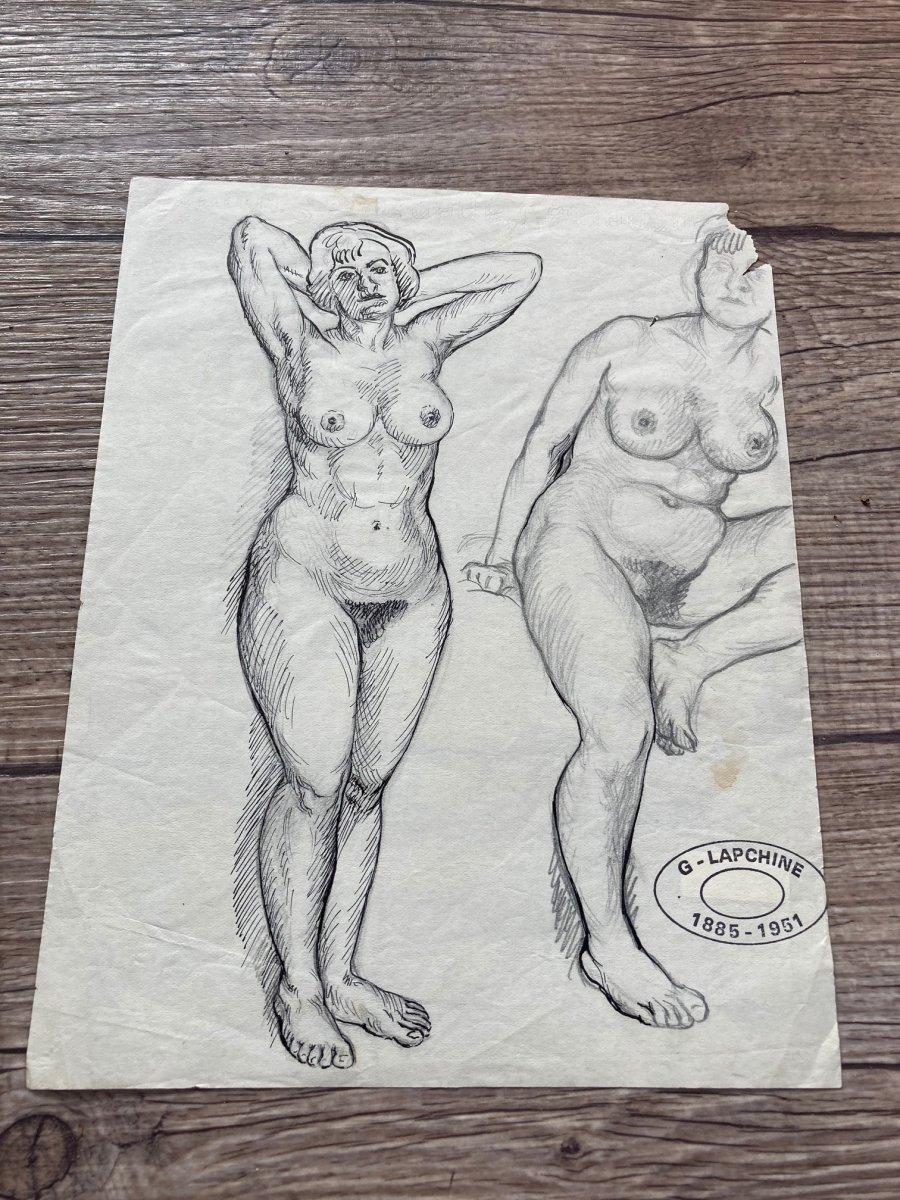Lapchine Georges Peintre Russe Lot De 7 Dessins de nus d'atelier Vers 1930-photo-3