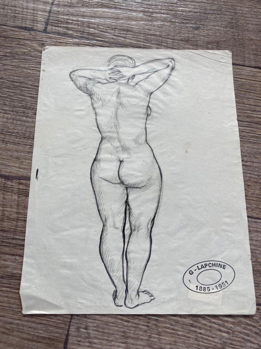Lapchine Georges Peintre Russe Lot De 7 Dessins de nus d'atelier Vers 1930-photo-4