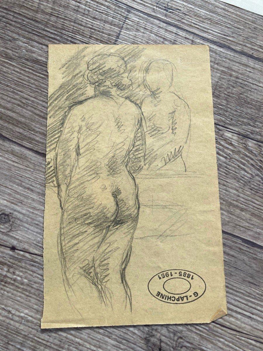 Lapchine Georges Peintre Russe Lot De 7 Dessins de nus d'atelier Vers 1930-photo-6