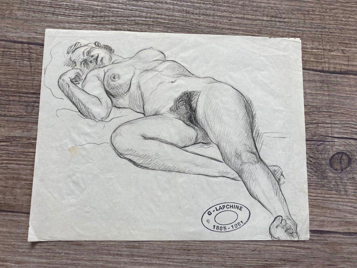 Lapchine Georges Peintre Russe Lot De 7 Dessins de nus d'atelier Vers 1930-photo-7