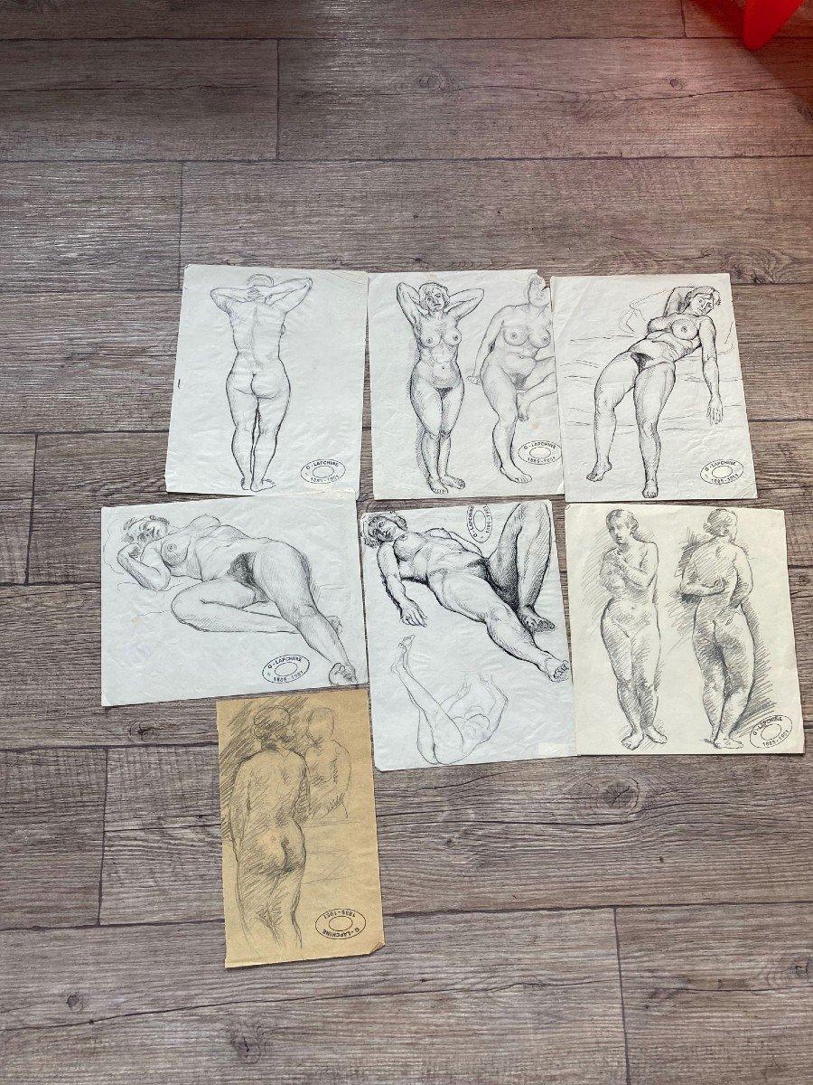 Lapchine Georges Peintre Russe Lot De 7 Dessins de nus d'atelier Vers 1930