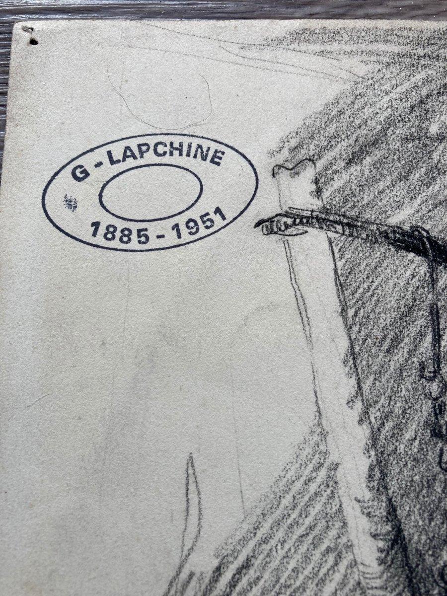 Lapchine Georges Dessin d'Atelier Vue d'Intérieur Vers 1930-photo-2