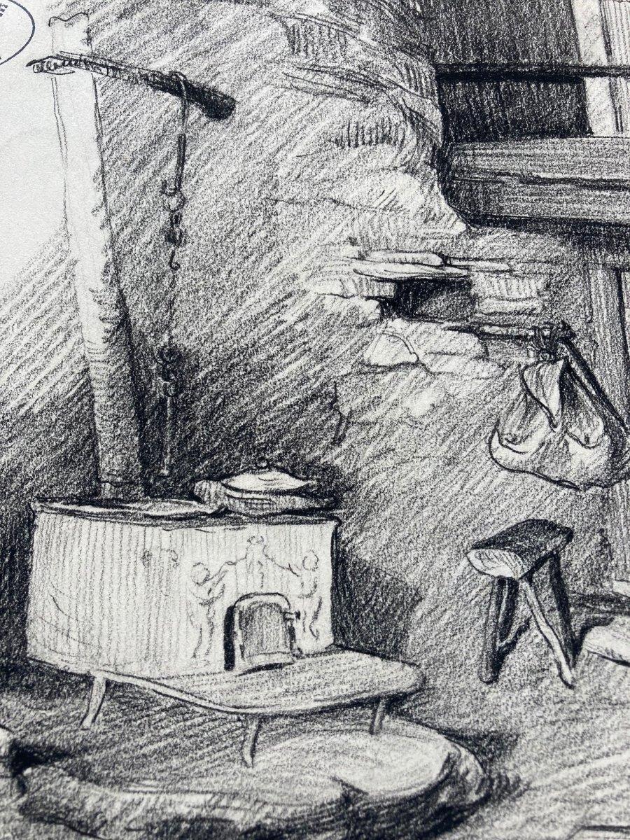 Lapchine Georges Dessin d'Atelier Vue d'Intérieur Vers 1930-photo-4