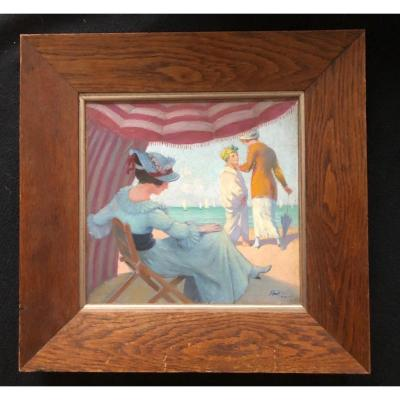 Poëtzch Gustave  Huile Sur Toile Scène De Plage à Deauville Vers 1900